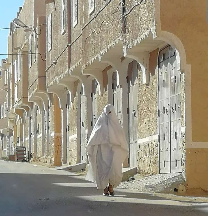 A Mozobite woman on the street in Algeria.