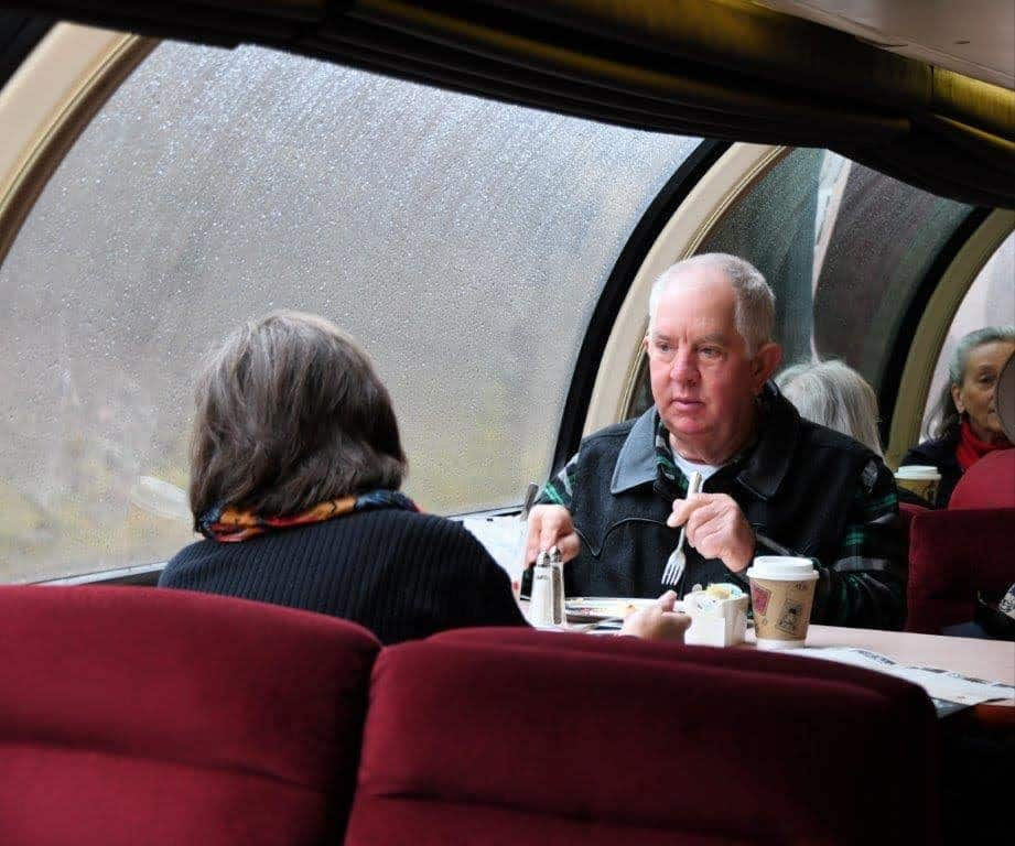 Breakfast in the dining car of the Royal Gorge Route Railroad.