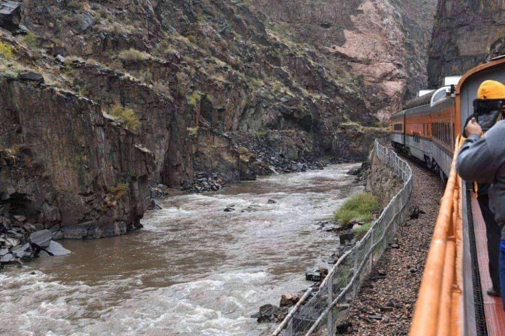 Chugging through the Royal Gorge in Colorado. Tab Hauser photos.