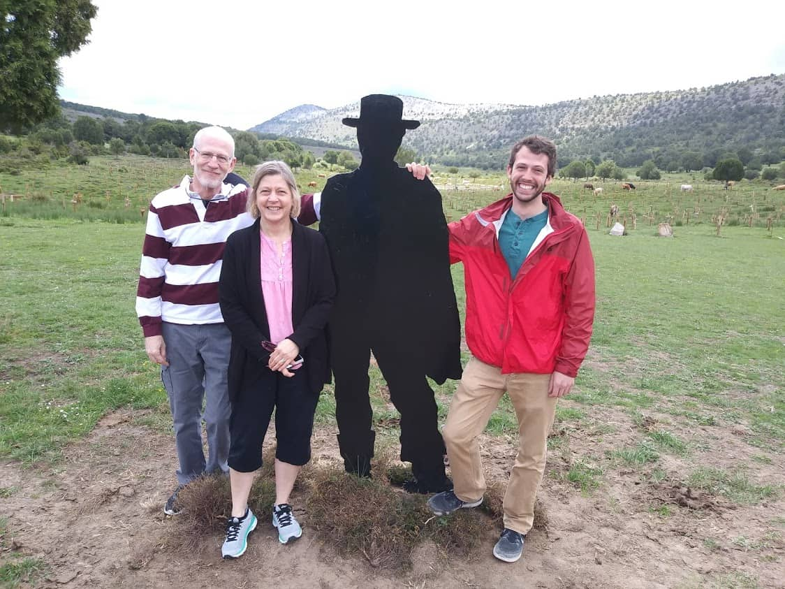 Posing with the cut out of Clint Eastwood, at the Sad Hill Cemetary in Spain.