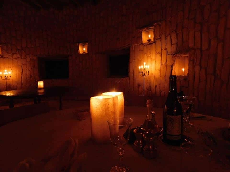One of many beautiful dining rooms in the Adrere Amellal resort in Siwa, Egypt.