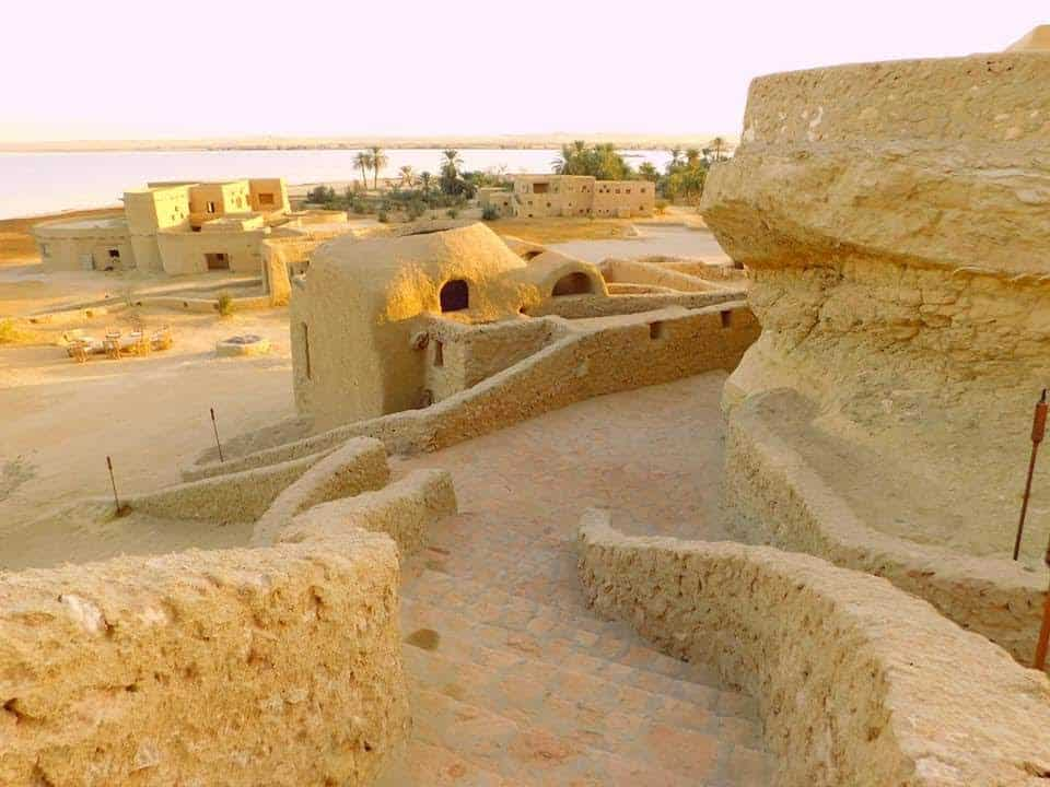Staircase at the Adrere Amellal in Siwa, Egypt. Sky Sutton photos.