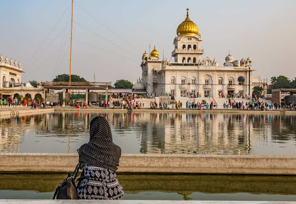 Gurudwara Bangla Sahib is the most prominent Sikh Temple in New Delhi. It is open 24 hrs. every day of the year. Donnie Sexton photos.