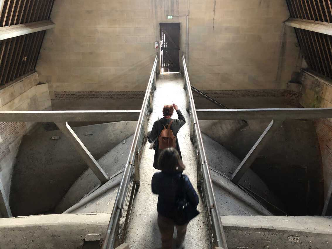 Walking the catwalks to get to the view in St-Quentin's cathdral.