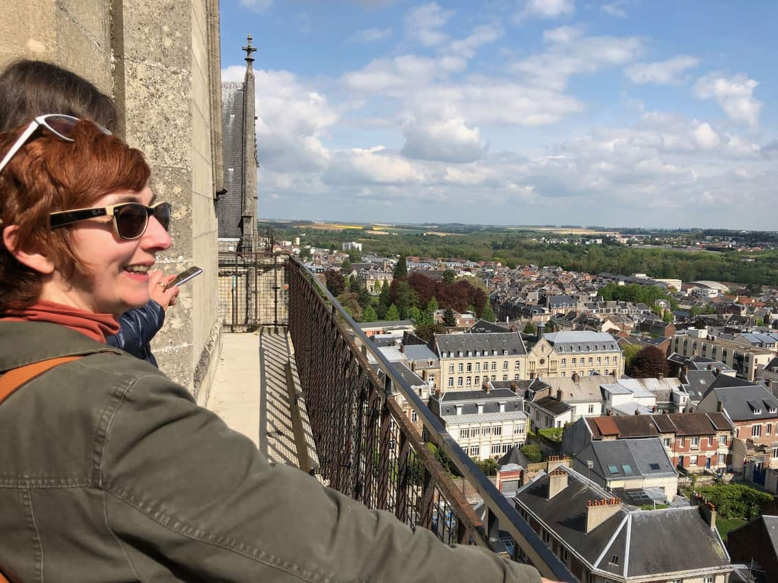 The World-class view from the top of the Cathedral in Saint-Quentin, Aisne, northern France.