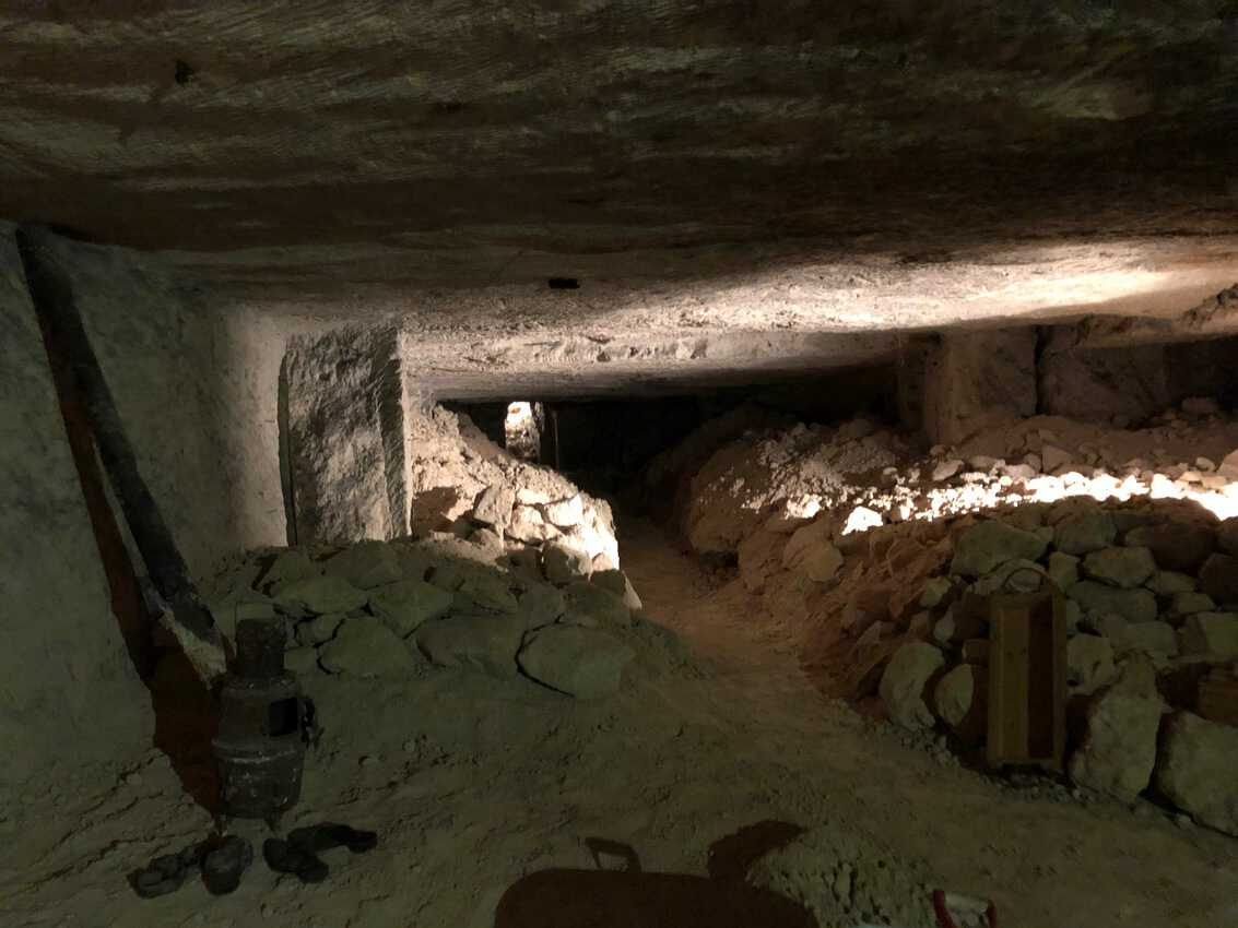 Inside the limestone caves where both German and Allied troops lived, protected from the aerial bombardments up above.
