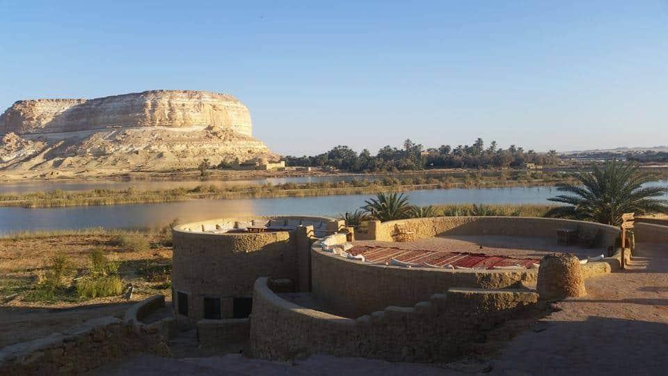 Cushion-lined sitting area at Taziry Ecolodge, Siwa, Egypt.