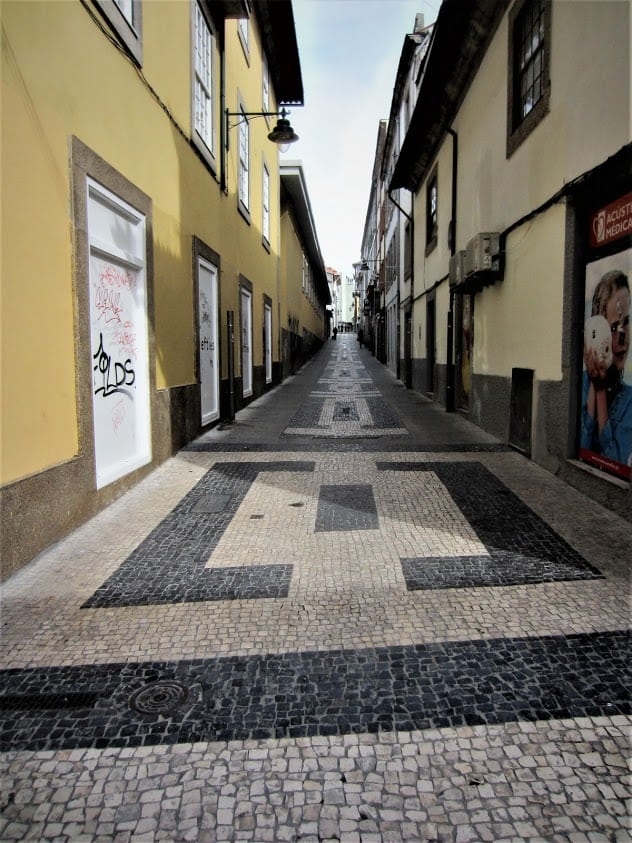Typical tiled street in Porto, Portugal