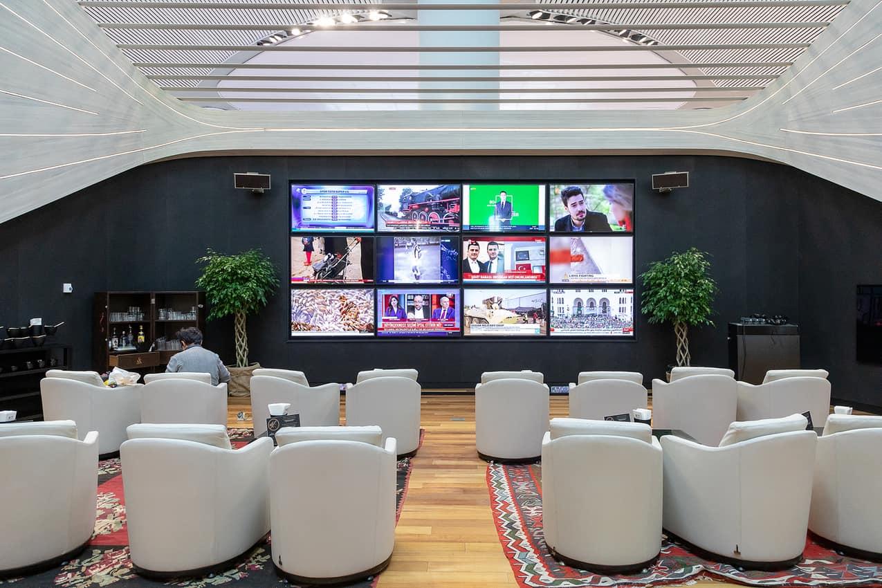 Business class TV area.