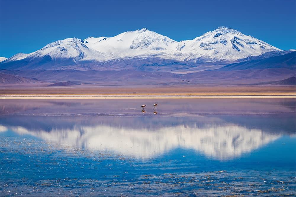Volcano Tres Cruzes at the Laguna Rosa in the Atacama Desert