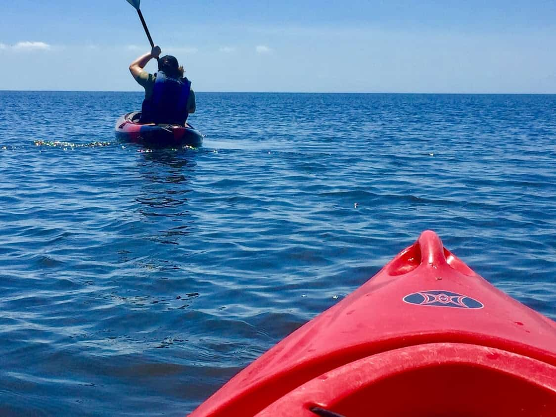 Kayaking the local waters in the Outer Banks.