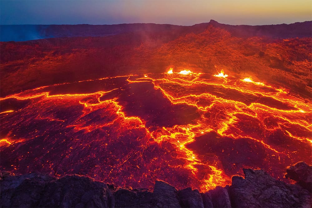 The view into the heart of the earth at the boiling lava lake Erta Ale in Ethiopia
