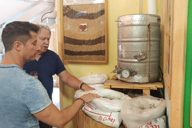 Bob Krill aka 'Mott Man' explains nuances of craft brewing with Steve at Cape May Brew Co.