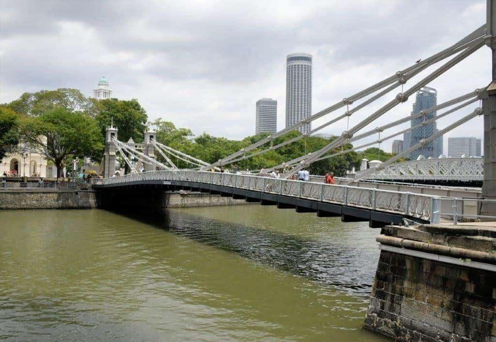 Colonial era bridge crosses the Singapore Bridge