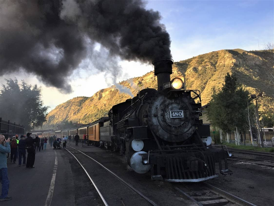 Riding the Rails in Colorado: The Durango & Silverton Narrow Gauge Railroad departs in the morning from the very center of the popular tourist town of Durango.