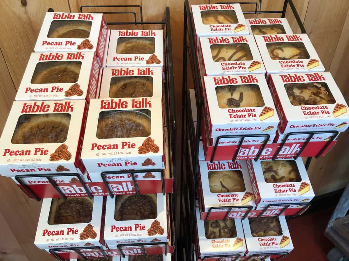 Tasty little pies for sale in Worcester's famous Table Talk Pie Factory.