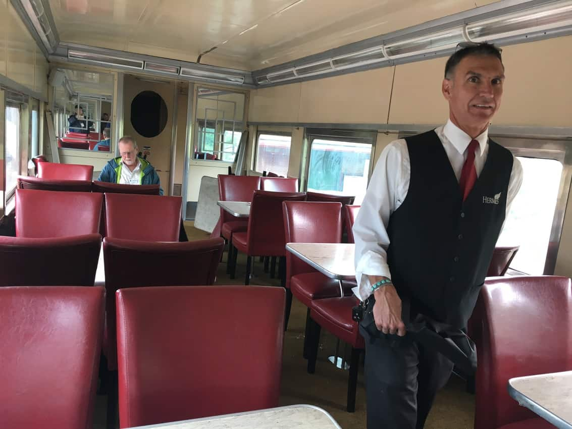 Inside a restored dining car at the Colorado Rail Museum.