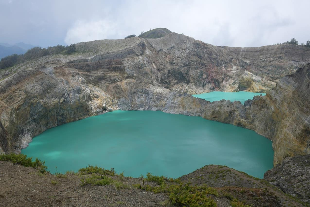 Two different colored lakes at the crater in Kelimutu National Park