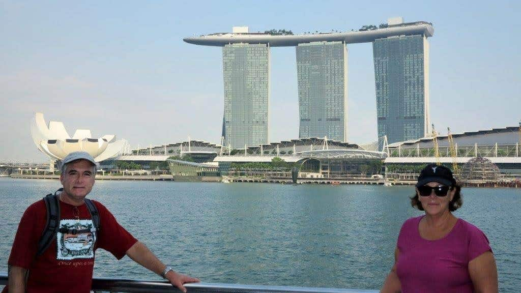 GoNOMAD Senior Writer Tab Hauser at the Marina Sands in SIngapore with his wife Maureen.