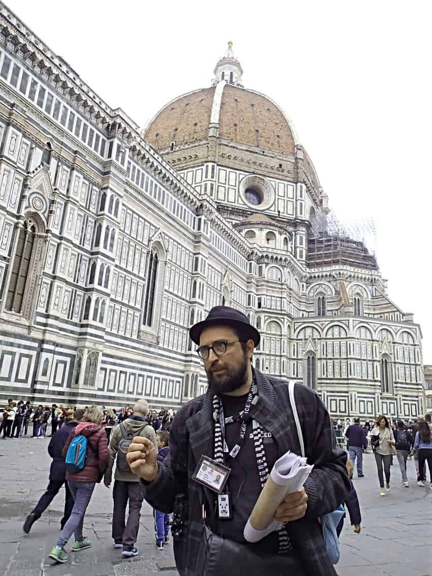 Nebo gets us off on the right foot on our walking tour of Florence.