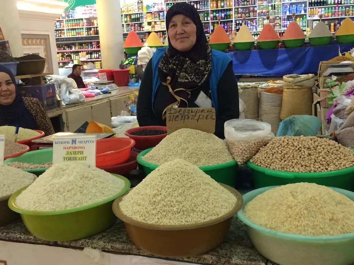 The Shah Mansur Bazaar, the biggest public market in Dushanbe.