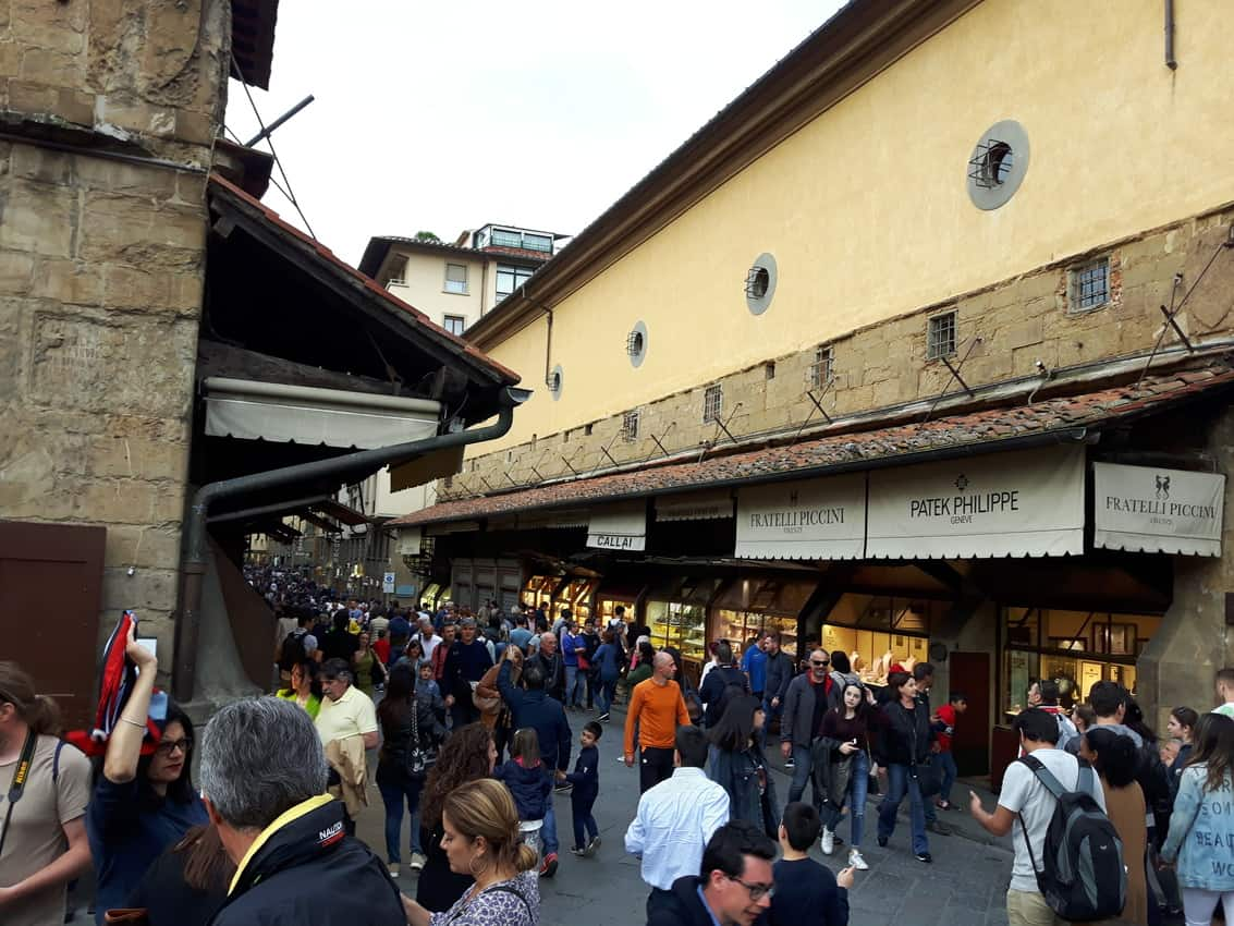Shoppers battle it out on the famous Ponte Vecchio in Florence. Debra Smith photos.