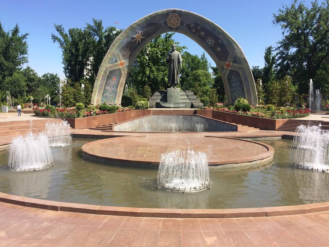 Statue of Rudaki, Tajikistan's most famous writer, in Dushanbe's Rudaki Park.