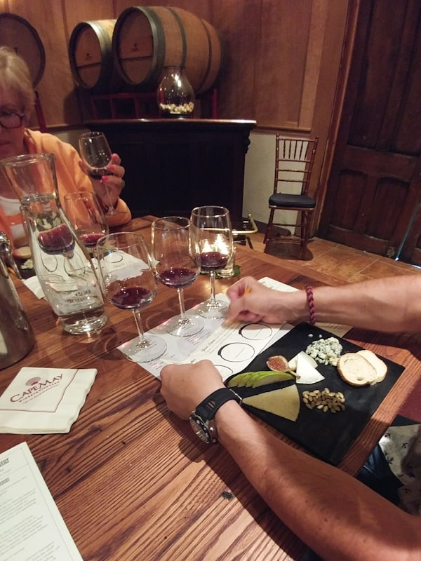 Steve takes notes while learning to create his own blends at Cape May Winery.
