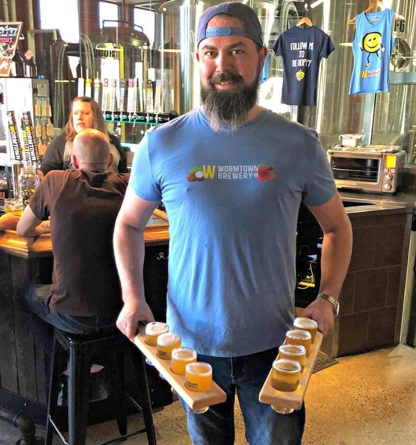 Josh Suprenant, Assistant Tap Room Manager at Wormtown Brewery in Worcester.