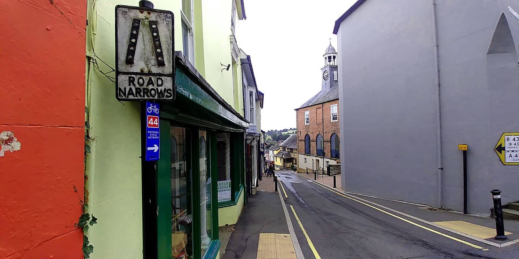 Narrow streets of Bishop's Castle in Shropshire England