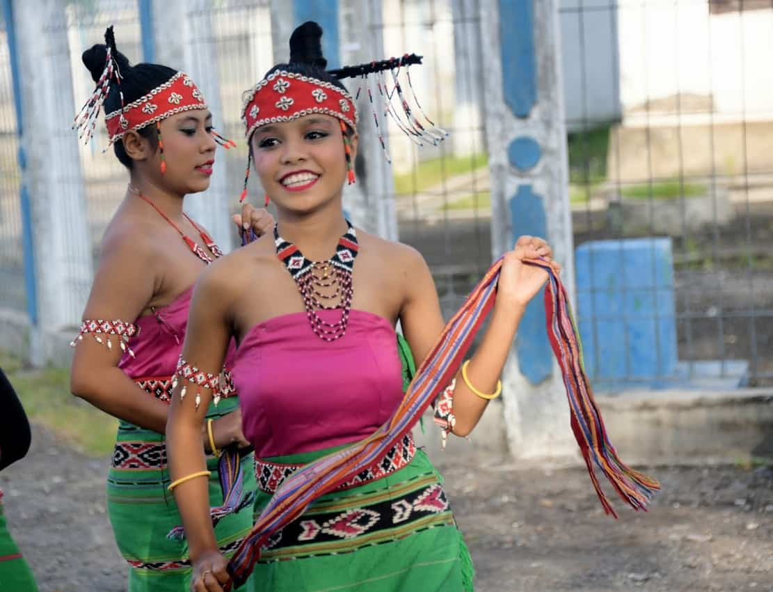 Different islands have their own dance style and costumes. Bando Island.
