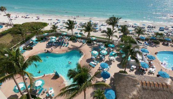 Drone footage of Lido Beach Resort, Sarasota, Florida