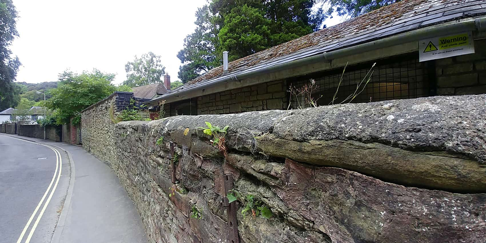 Narrow streets and stone walls in Ludlow Shropshire England