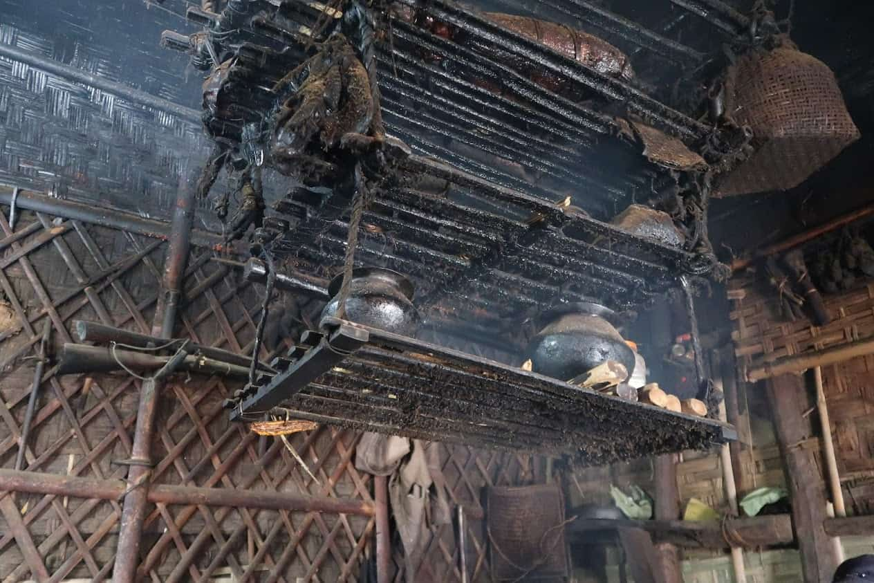 The shelf above the fire for smoking food in Nagaland.