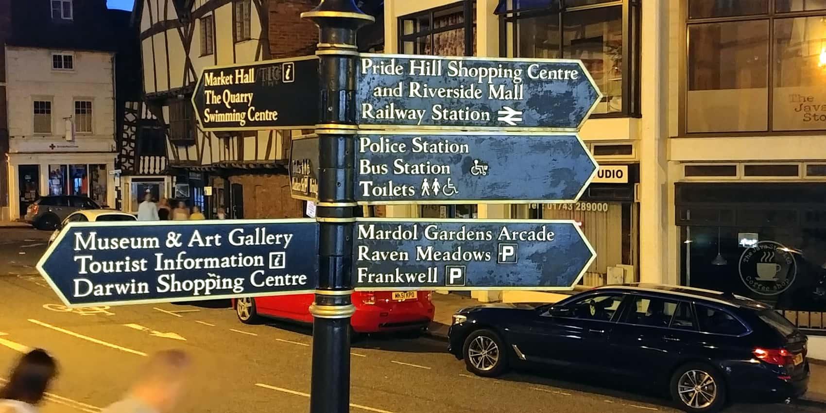 Direction signs in Shrewsbury Shropshire England
