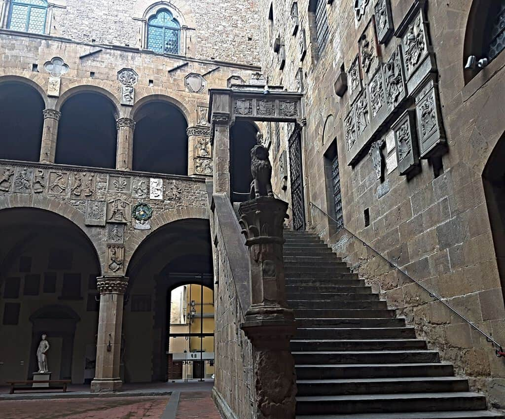 History comes alive in the courtyard of the Bargello, Florence Italy