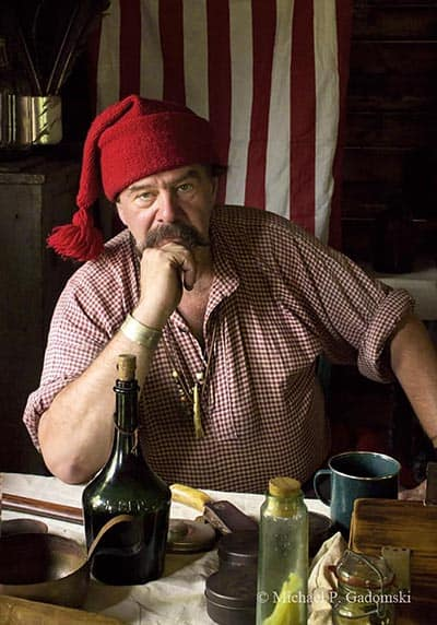 Park volunteer Fred Schofer portrays and explains the life and work of the fur traders and trappers of the eighteenth and early nineteenth century at the annual Millbrook Days folk life festival.