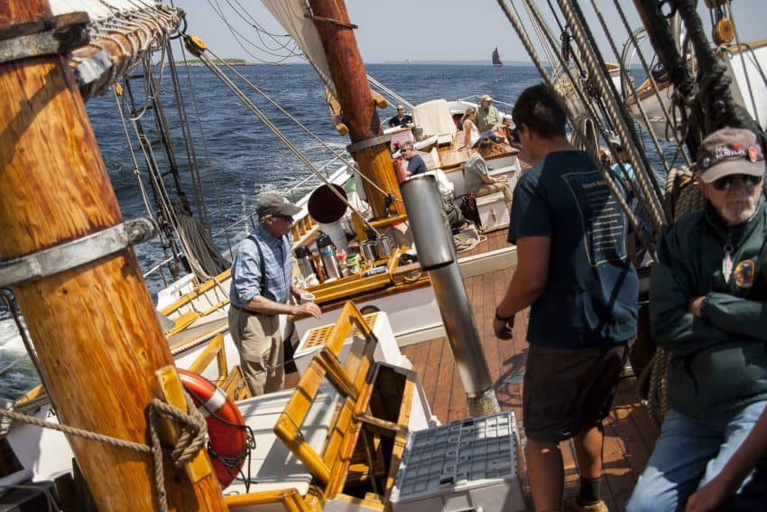 The deck pitches as the schooner American Eagle tacks into the wind.