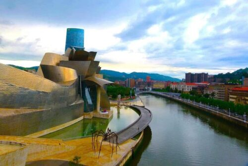 Opened in 1997, the Guggenheim Museum in Bilbao, Spain was designed by Frank Geary. Jackie Finch photos.