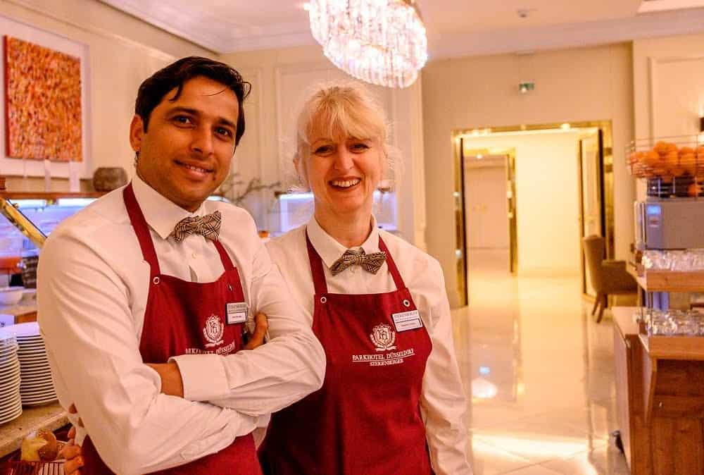 The restaurant wait staff at Steigenberger Parkhotel provides exceptional service.