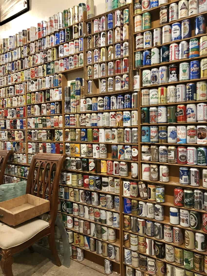 A wall of old-school beer cans at Thunderbird Salvage, Philadelphia.
