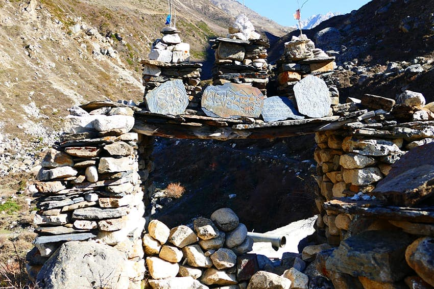 Mani stones en route to Manaslu Circuit