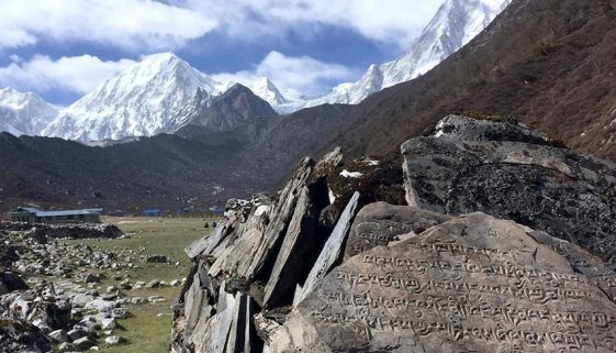 Mani walls in Dharmasala with Manaslu, Naike, and Larke Peak on the backdrop