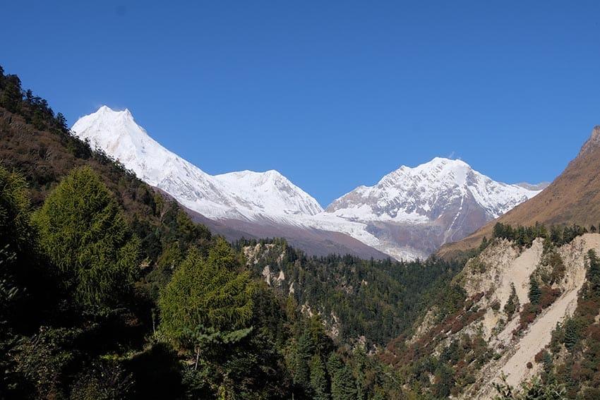 Lho Village and Mt. Manaslu