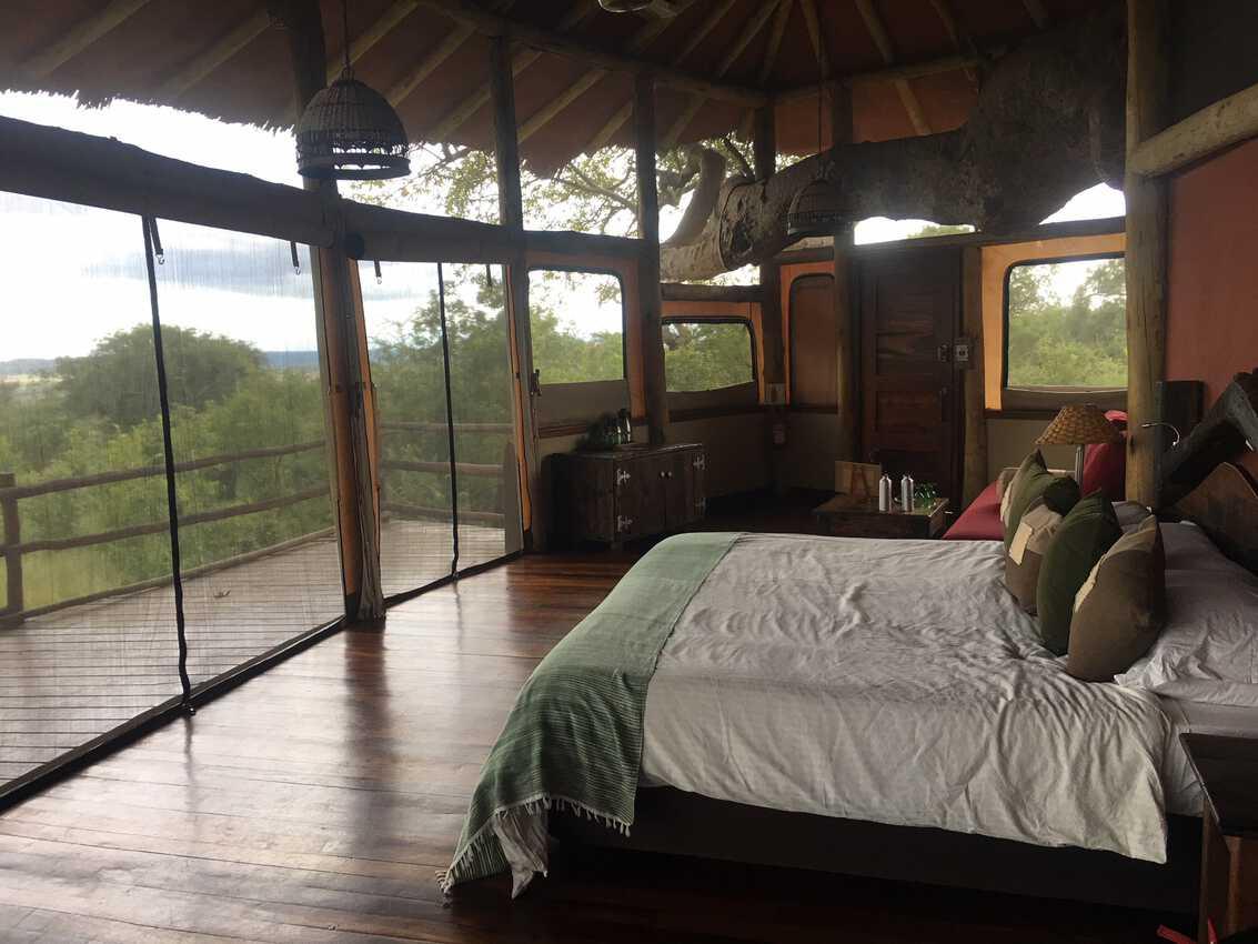 The interior of our room at the Tarangire Treetops Hotel, Tanzania.