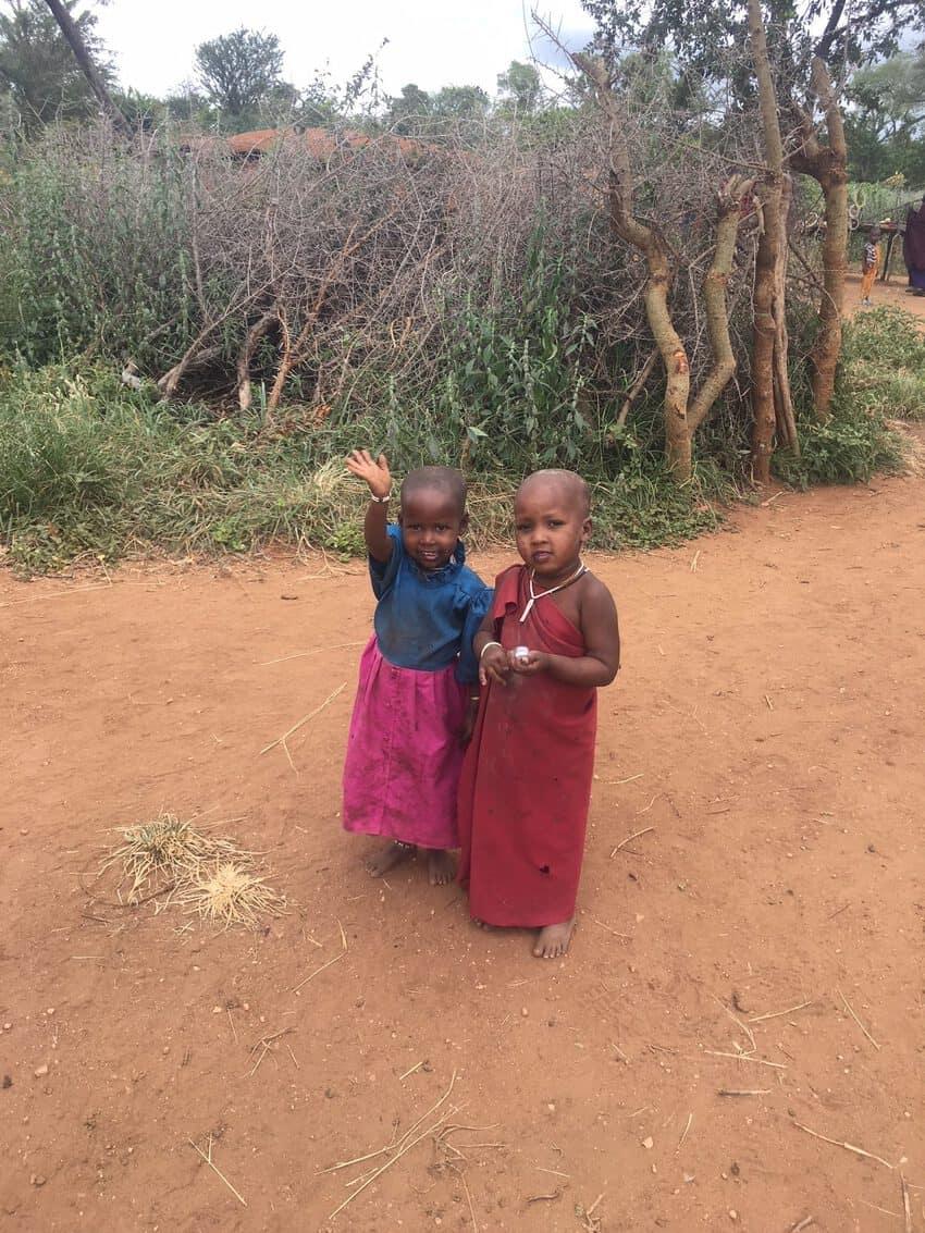 Children in the local Maasai village