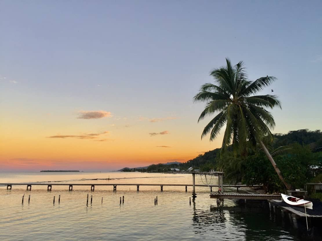 View from Grandma Maeva's overwater bungalow guesthouse on Raiatea.
