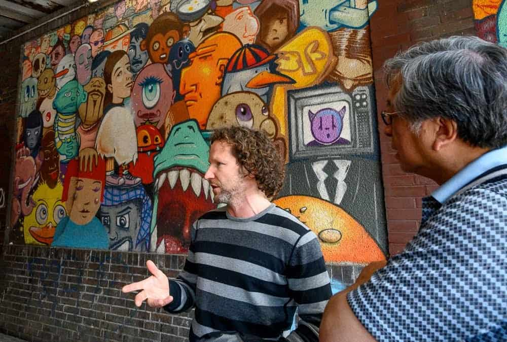 The two-hour Urban Art Walk, lead by Klaus Rosskothen, is a delightful and educational way to view the street art in Dusseldorf's neighborhoods.