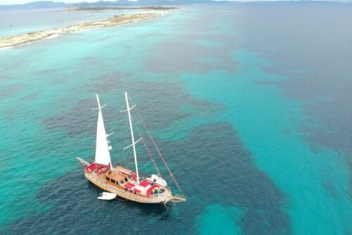 An aerial view of our boat off the shores of Formentera - an island located just off the shores of Ibiza