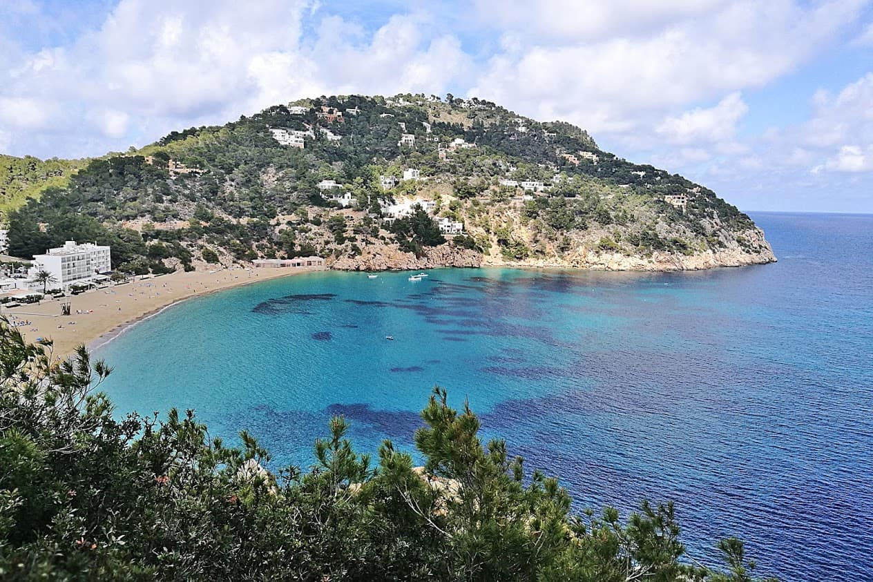 Overlooking one of the magnificent beaches of Ibiza - the island is home to about 90 secret bays and beaches